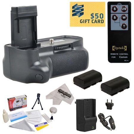 Offer Opteka (8471B001AA) BG-E14 Replacement Vertical Battery Grip for Canon EOS 70D DSLR Digital Camera with 2 LP-E6, Charger, Wireless Shutter, Cleaning Kit, Mini Tripod, Microfiber Cloth, $50 Gift Card! Before Too Late