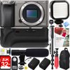 Sony Alpha a6000 24.3MP Grey Interchangeable Lens Camera Body (ILCE6000/H) - 64GB Battery Grip & Shotgun Mic Pro Video Bundle E33SNILCE6000H Sony Alpha A6000 Mirrorless Digital Camera (Body Only)NP-FW50 Lithium-Ion Rechargeable Battery (1080mAh)AC Adapter AC-UB10Micro USB CableLimited 1-Year WarrantyBundle Includes:Sony Alpha a6000 24.3MP Grey Interchangeable Lens Camera Body OnlyDeluxe Battery Power Grip for Sony A60002x Camera battery for DSCHX1 and Select Alpha SLRs32GB SDHC High Speed Memory CardPro Series 72 Monopod w/ Quick ReleaseSLR Photo and Video Rechargeable LED LightUniversal Mini Condenser Shotgun MicrophoneDeluxe Digital Camera/Video Sling Style Shoulder Bag BlackMemory Card Reader, Card Wallet, Mini Tripod, Cleaning Kit and MorePaint Shop Pro X912-inch Rubberized Spider Tripod Large RedProfessional Lens Blower - Dust Removal systemLCD/Lens Cleaning PenLens Cap Keep ...Compact and Lightweight Mirrorless DSLR The a6000 is a super-compact mirrorless camera that's about half the size and weight of a typical DSLR, yet it has the same size APS-C sensor as most DSLRs. The interchangeable lenses and E-mount system make the a6000 more versatile than almost any other camera on the market. High Resolution 24MP APS-C Sensor Get incredible detail and gorgeous enlargements thanks to the newly developed 24.3 megapixel Exmor APS HD CMOS sensor. It has higher resolution than most DSLRs and adopts the same gapless on-chip lens structure as the a7R for ultimate image quality and light sensitivity. Better Images through BIONZ X Processing The BIONZ X image processor faithfully reproduces textures and details in real time via extra high-speed processing capabilities delivering true-to-life images - as seen by the naked eye. It enables greater natural detail, richer tonal gradations, lower noise and more realistic images whether you shoot stills or video. Ultra-fast Response Capture the perfect moment- the a6000 realizes 11 frames per second continuous shooting with AF (Au