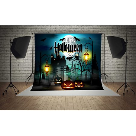 Halloween Tv Background (GreenDecor Polyster 7x5ft Happy Halloween Moon Pumpkins Castle Lamps Party Decorations Photography Backdrop Photo Booth)