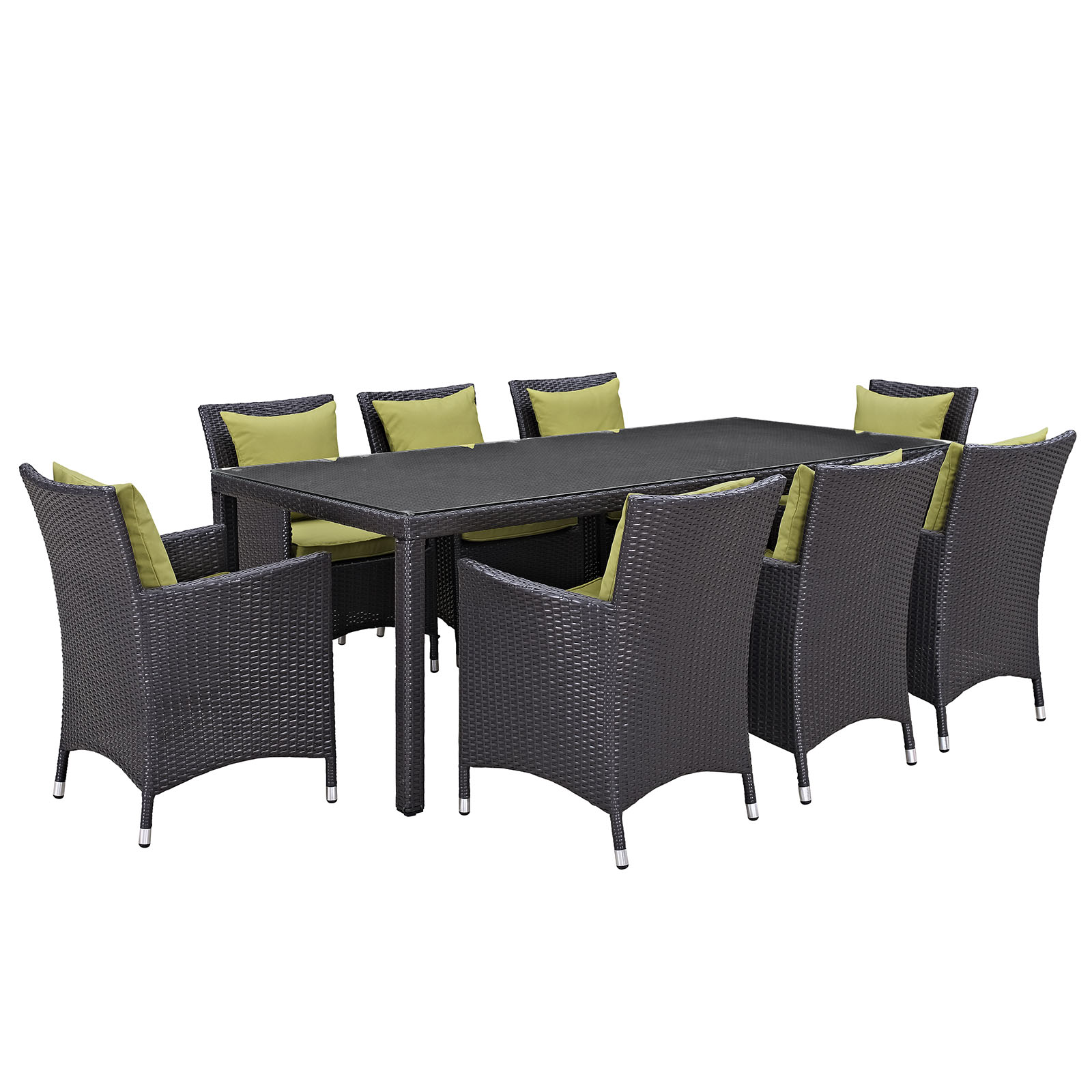Modern Contemporary Urban Design Outdoor Patio Balcony Nine PCS Dining Chairs and Table Set, Green, Rattan