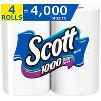 Scott 1000 Toilet Paper, 4 Rolls, 4,000 Sheets