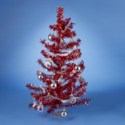 15 red tinsel rudolph the red nose reindeer artificial christmas tree set - Red Artificial Christmas Tree