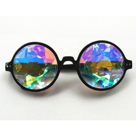 C.F.GOGGLE 2Packs Goggles Retro Mosaic Kaleidoscope Rainbow Sunglasses Special Lens Men Women Designer Cosplay Goggles Glasses Black Pink Clear