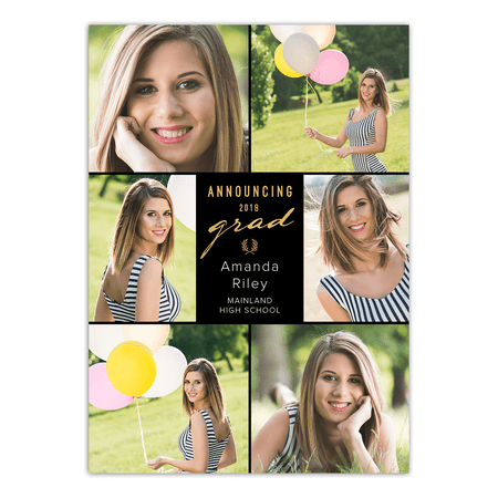 Classic Stripes Graduation Announcement 2 Picture Photo Cards