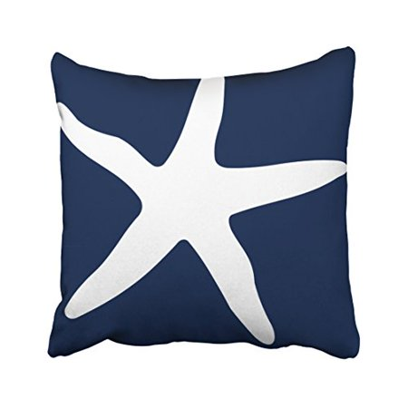 WinHome Square Throw Pillow Covers Navy Blue And White Starfish Simple Pattern Pillowcases Polyester 18 X 18 Inch With Hidden Zipper Home Sofa Cushion Decorative Pillowcase ()