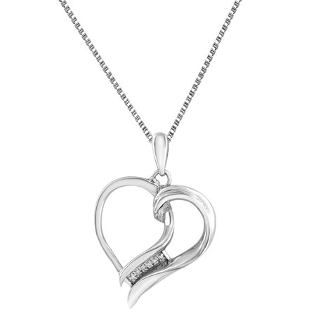 Sterling Silver Heart Pendant Necklace Set 0.9