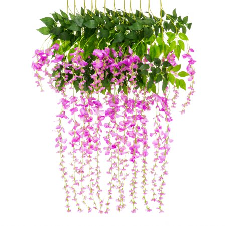 Best Choice Products 12-Pack 3.6ft Artificial Silk Wisteria Vine Hanging Flower Rattan Decor for Weddings, Home -