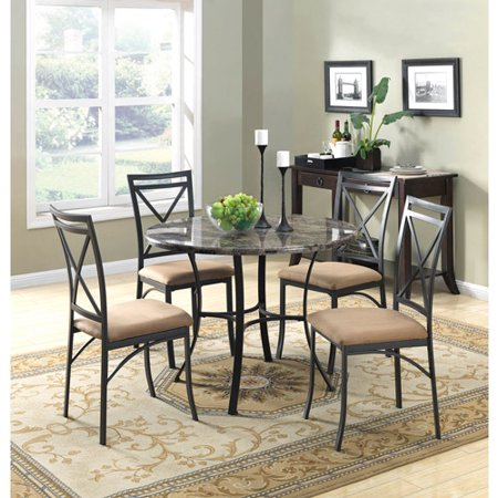 Marble Round Dining Table Set - Mainstays 5-Piece Faux Marble Top Dining Set