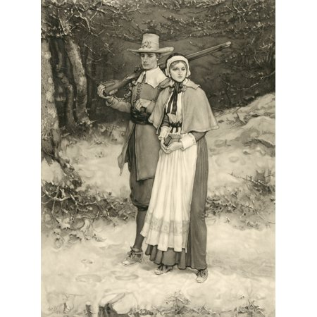 Painting Henna - Puritan Couple On Way To Sunday Worship From An 1885 Engraving By Thomas Gold Appleton After A Painting By George Henry Boughton Canvas Art - Ken Welsh  Design Pics (12 x 17)