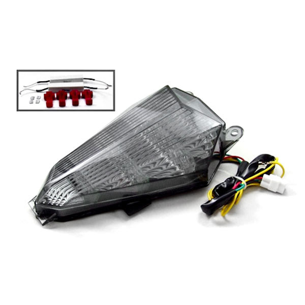 Krator 2006-2012 Yamaha YZF R6 LED TailLights Brake Tail Lights with Integrated Turn Signals Indicators Smoke Motorcycle