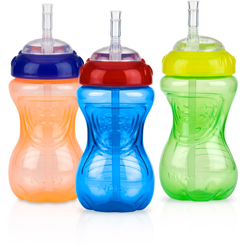Nuby 3-Pack 10-oz Flexi-Straw Gripper Cup, Neutral, BPA-Free