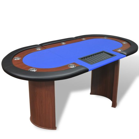 Yosoo 10-Player Poker Table with Dealer Area and Chip Tray Blue