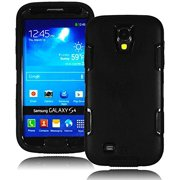 Bastex Heavy Duty Hybrid Case for Samsung Galaxy S4 I9500 - Soft Black Protective Silicone Cover with Solid Black Hard Shell