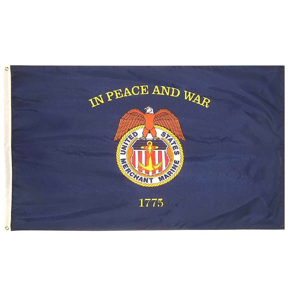 Collins Flags 3' x 5' US Merchant Marine Flag - Nylon - 100% Made in America