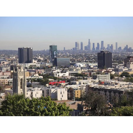 Hollywood and Downtown Skyline, Los Angeles, California, United States of America, North America Print Wall Art By Wendy Connett