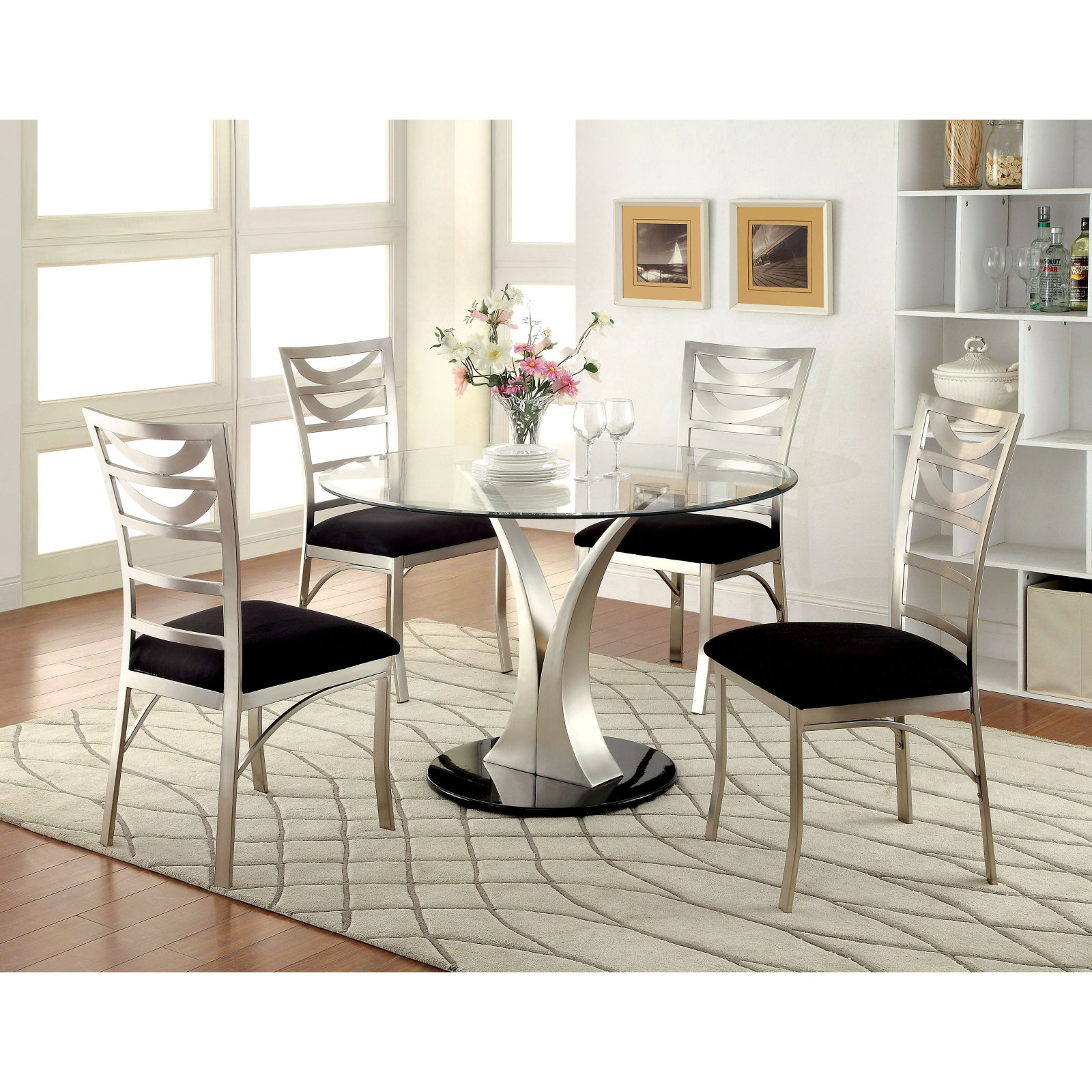 Furniture of America Sparling Contemporary 5 Piece Dining Table Set with Ladderback Chairs