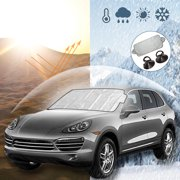 1/2pcs Car Windshield Screen Visor Cover Sun Shade Snow Frost Ice Dust Protector Summer Winter with Suction Cups for Cars Trucks Vans SUV