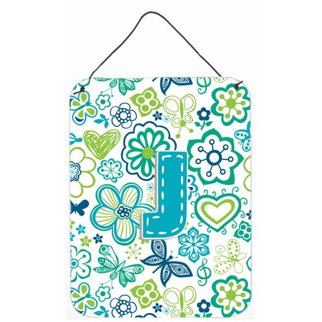 Carolines Treasures CJ2006-JDS1216 Letter J Flowers And Butterflies Teal Blue Wall and Door Hanging Prints - image 1 de 1