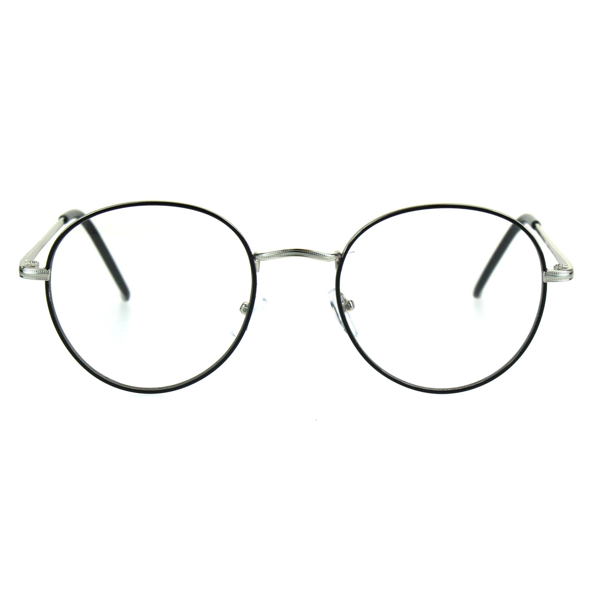 ac8208f1b35 Classic 90s Metal Rim Round Clear Lens Eye Glasses Frame Black Tortoise -  Walmart.com