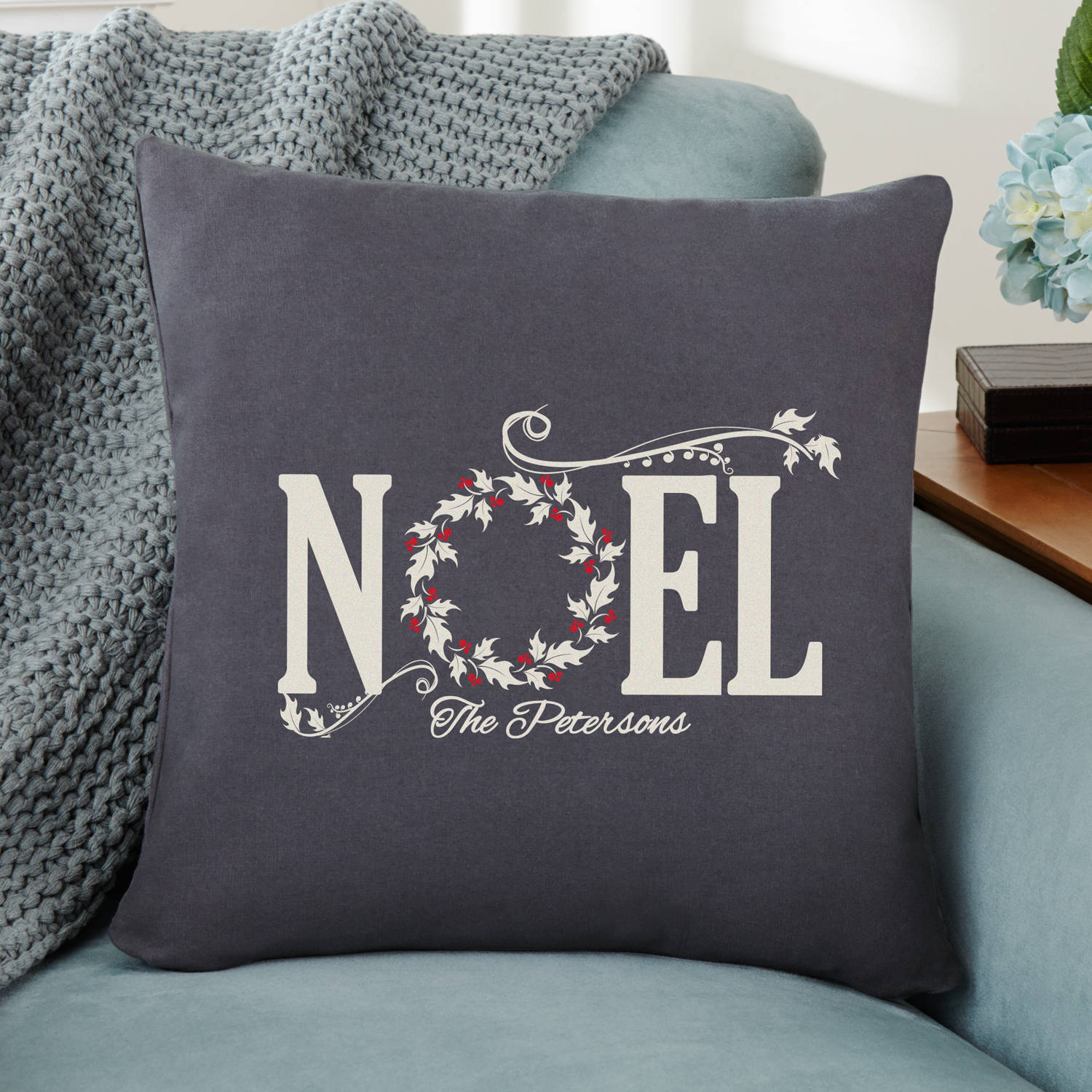 Personalized NOEL Holiday Throw Pillow