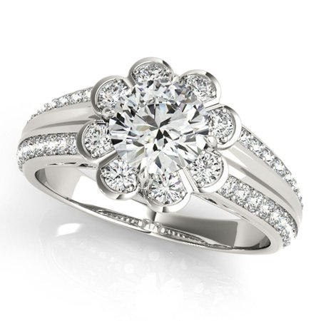 3/4 Ct Halo Round Diamond Flower Shaped Engagement Ring In 14k White Gold