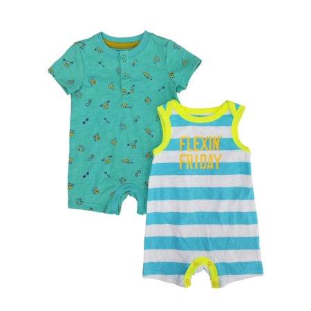 Infant Boys 2-Piece Short Sleeve & Sleeveless Flexin Friday Romper Set