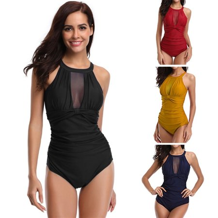 Womens One Piece Swimsuits Tummy Control Swimwear High Neck Mesh V Neck Ruched Monokini Bathing Suits