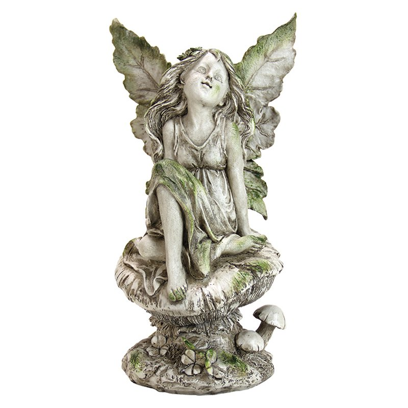 Exhart Fairy Sitting on Mushroom Garden Statue by Exhart