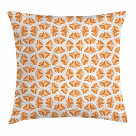 Orange and White Throw Pillow Cushion Cover, 3D Style Grid with Rays Geometric and Floral Design Wavy Lines Tile, Decorative Square Accent Pillow Case, 18 X 18 Inches, Orange and White, by Ambesonne