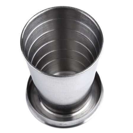 Stainless Steel Mini Travel Retractable Cup Keychain Telescopic Camping - image 5 of 10