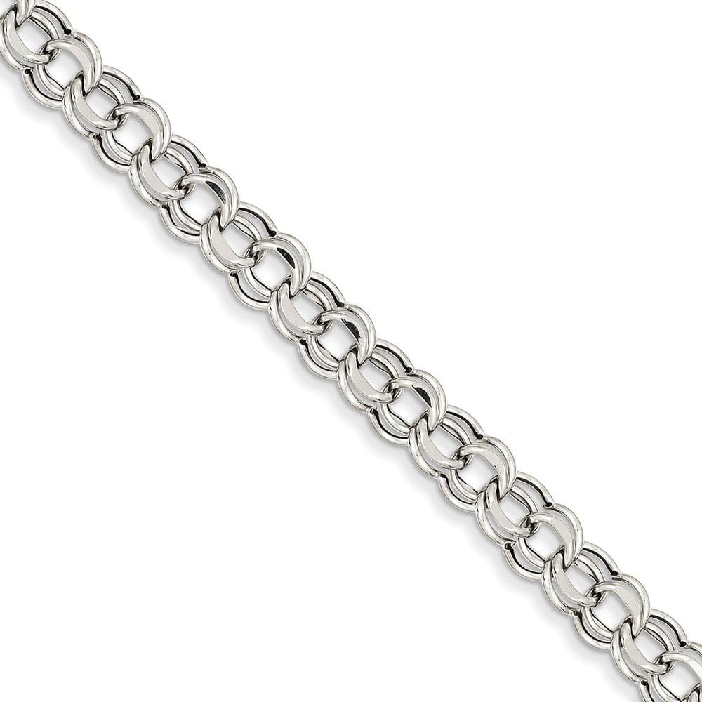 14k White Gold 7in Light 5.5mm Double Link Charm Bracelet