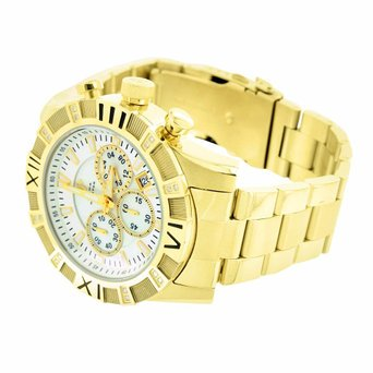 Mens Round Dial Watch Gold Finish Real Diamond Aqua Master Jojo Jojino Techno