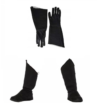 Child Superhero Black Shoe Covers Boot Tops and Gauntlet Gloves Costume Kit (Superhero Boot Covers)