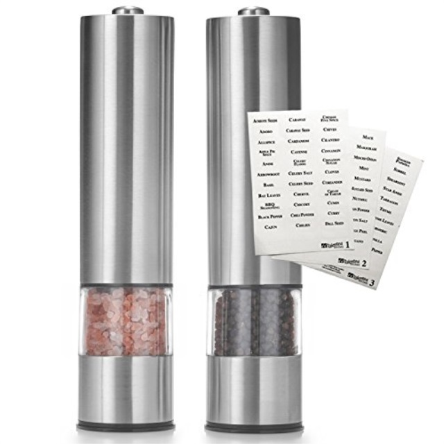 Talented Kitchen Set of 2 Salt Pepper Mill Electric Grinders Spice Labels. Heavy Duty Brushed Stainless Steel Spices Gourmet Tab