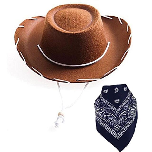 Funny Party Hats Cowboy Hat for Adults Felt Cowboy Hats w//Paisley Bandana