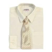 Ivory Button Up Dress Shirt Pinstriped Tie Set Boys 5-18