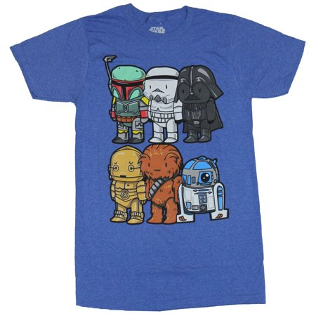Star Wars Mens T-Shirt - Super Cute Stubby Boba Vader C3PO Chewy - C3po R2d2