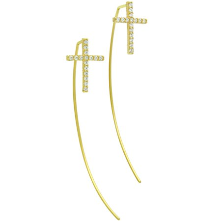 Cubic Zirconia Slip through Wire Cross Earrings Yellow Gold-Tone Sterling Silver