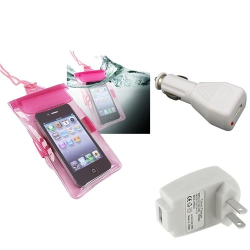 Insten Pink Waterproof Case+Car+AC Wall Charger For Motorola Droid Razr XT912 Maxx XT916 iPhone 4S 4 3Gs iPod Touch 4th