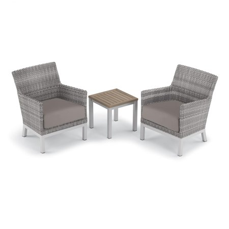Argento 3 Piece Wicker Patio Conversation Set W/ Tekwood Vintage End Table & Stone Cushions By Oxford Garden ()