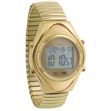 Mens Gold-Tone Talking Calendar Watch with Calendar Display-Expansion (Calendar Watch)