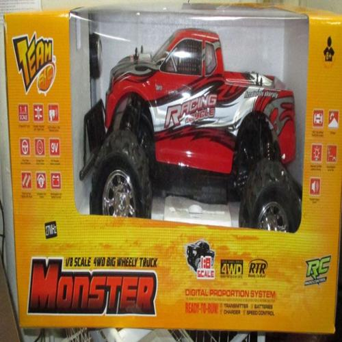 "20"" RC 4WD Big Wheely Monster Truck 1/8 Scale RTR Radio Control Car High Speed Vehicle Toy - Red"