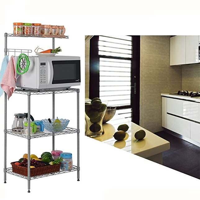 3 Tier Microwave Stand Storage Rack, Kitchen Wire Shelving Microwave Oven Bakers Rack with Spice Rack... by