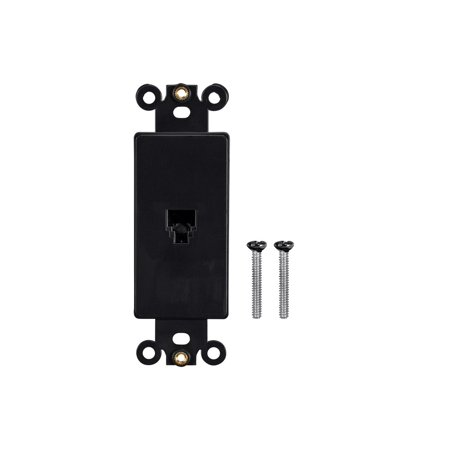 Monoprice Dcor Insert with Phone Jack - Black  for Home Office Personal Install