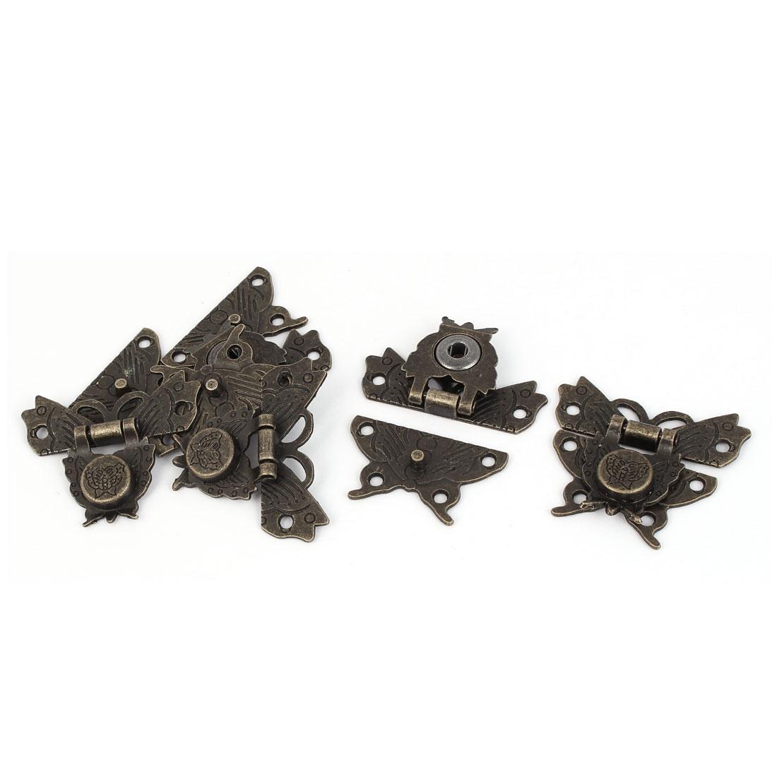 Jewelry Box Zinc Alloy Butterfly Shape Toggle Latch Catch Hasp Bronze Tone 5pcs