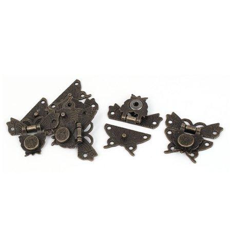 - Jewelry Box Zinc Alloy Butterfly Shape Toggle Latch Catch Hasp Bronze Tone 5pcs