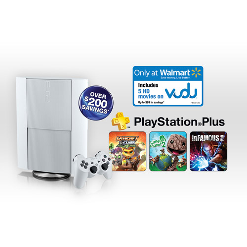 PS3 500GB Console Classic White with PSN Plus and VUDU (Wal-mart Exclusive)