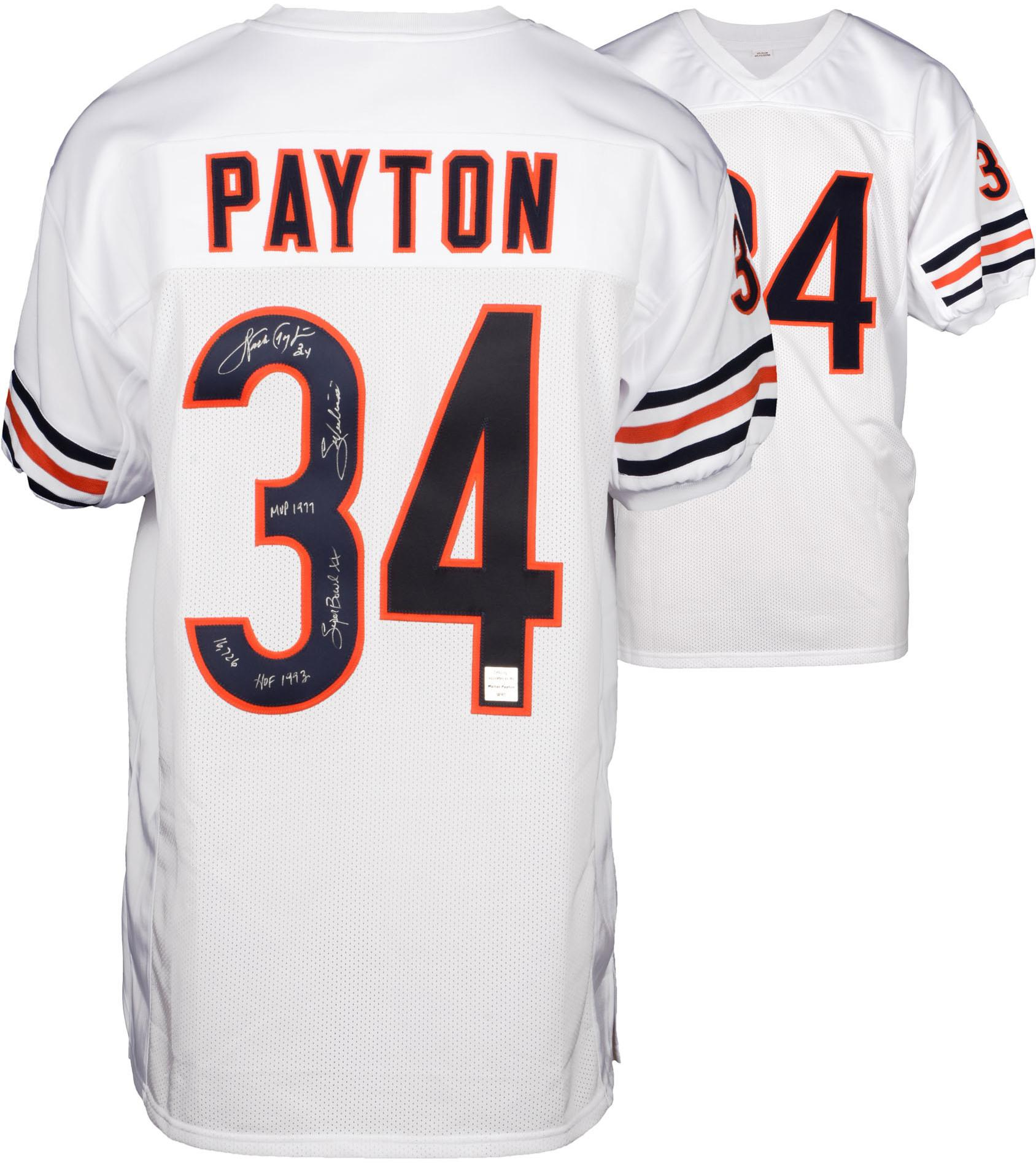 Walter Payton Chicago Bears Autographed White Custom Jersey with Multiple Inscriptions - Fanatics Authentic Certified