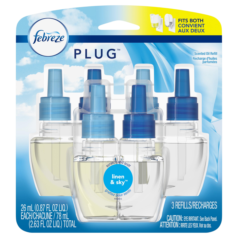Febreze Plug Air Freshener Scented Oil Refill, Linen & Sky, 3 Count
