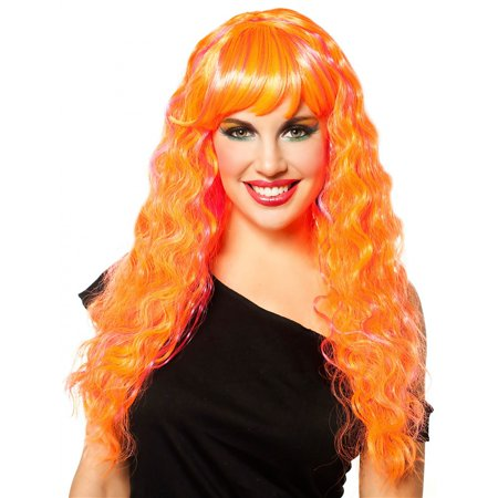 Orange with Magenta Candy Glam Wig (Uncle Fester With Wig)